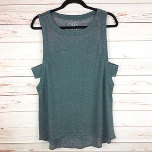 Chaser Burnout Green Muscle Tank Top with Cutouts